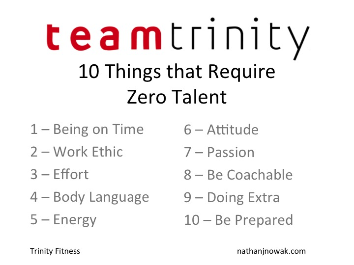 Nathan Nowak discusses 10 things that require zero talent at trinity fitness in atlanta georgia